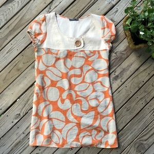 Theme tan and orange silky dress size medium